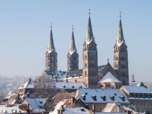 Bamberg, Bayern, Deutschland, Dom, Europa, Franken, Weihnachtskarte